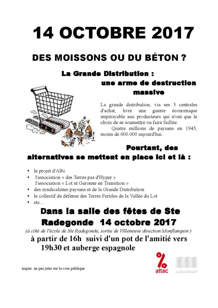 Flyer sur la table ronde du 14 octobre à Sainte