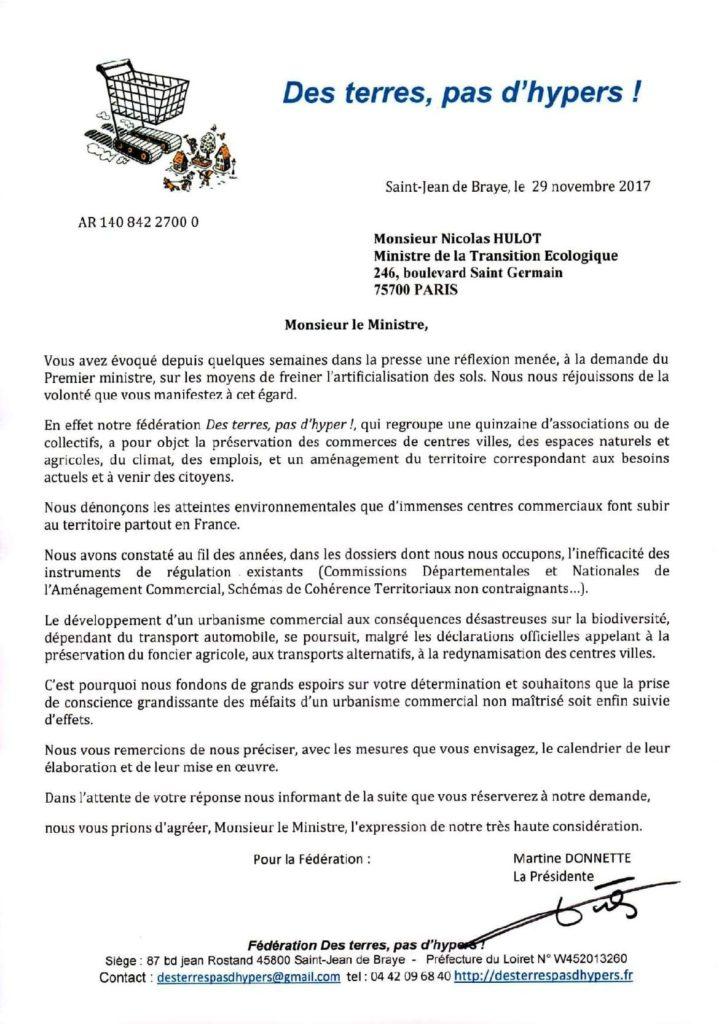 Lettre à Nicolas Hulot